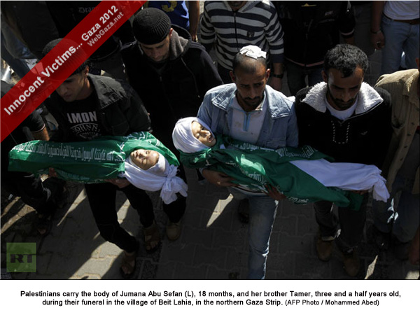 Palestinians carry the body of Jumana Abu Sefan (L), 18 months, and her brother Tamer, three and a half years old, during their funeral in the village of Beit Lahia, in the northern Gaza Strip.