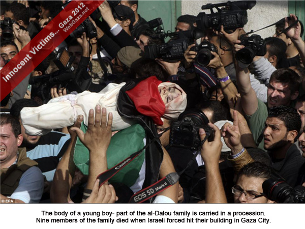 The body of a young boy- part of the al-Dallu family is carried in a procession. Nine members of the family died when Israeli forced hit their building in Gaza City.