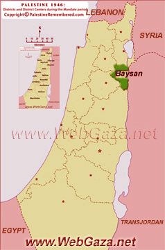 District of Baysan - One of the Palestine Districts-1948, find here important information and profiles from District of Baysan.