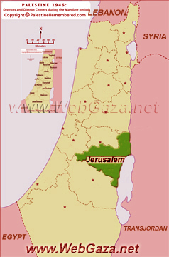 District of Jerusalem (Al-Quds) - One of the Palestine Districts-1948, find here important information and profiles from District of Jerusalem (Al-Quds).