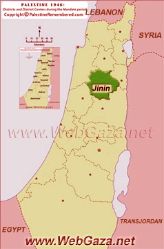 District of Jinin (Jenin) - One of the Palestine Districts-1948, find here important information and profiles from District of Jinin (Jenin).