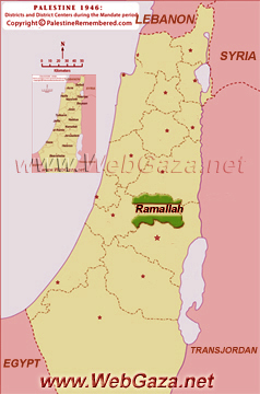 District of Ramallah - One of the Palestine Districts-1948, find here important information and profiles from District of Ramallah.