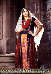 Black Beit Dajan Dress - Dress from Dajan dress, Jaffa area, with a rare embroidered scarf, District of Jaffa.