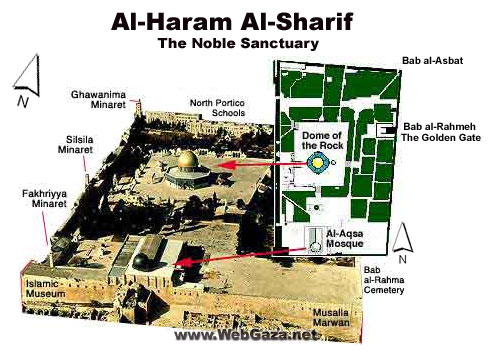 Al-Haram al-Sharif - At the heart of Jerusalem is the Noble Sanctuary, Al-Haram al-Sharif, enclosing over 35 acres of fountains, gardens, buildings and domes.